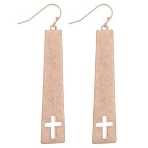 NWT *BOUTIQUE*  ROSE GOLD EARRINGS w/CROSS